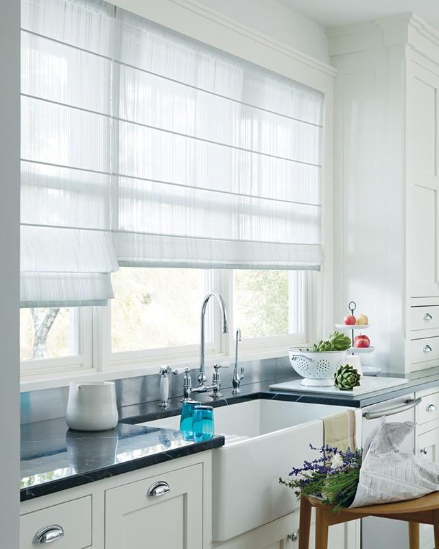 Create a feeling of lightness in a kitchen with sheer white Design Studio™ Roman Shades ♦ Hunter Douglas window treatments     #kitchen