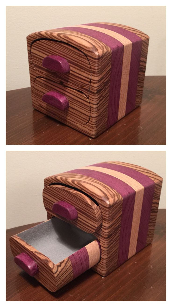 ***SOLD*** Bandsaw box made from zebra, purple heart, and oak.