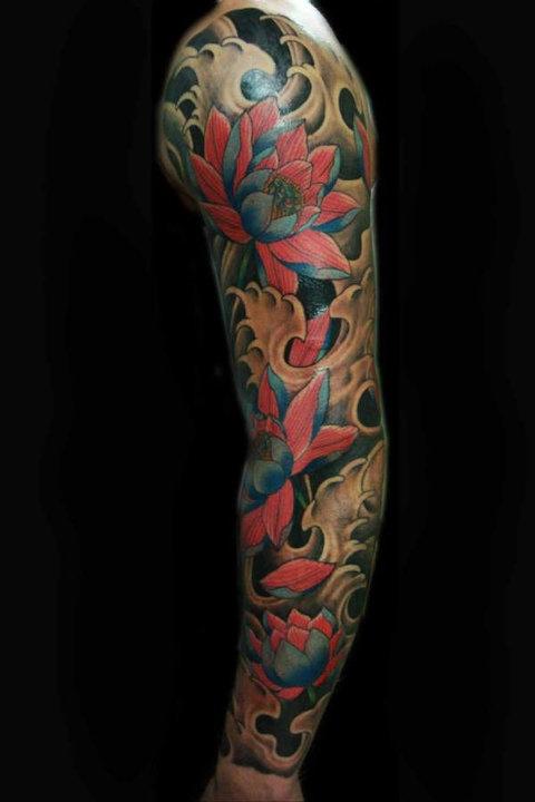 lotus sleeve tattoo