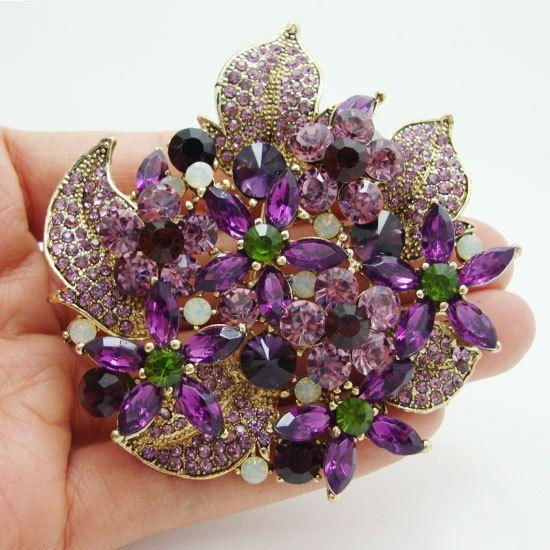 Gorgeous Flower Cluster Floral Leaf Violet Rhinestone Crystal Brooch Pin Pendant #Unbranded