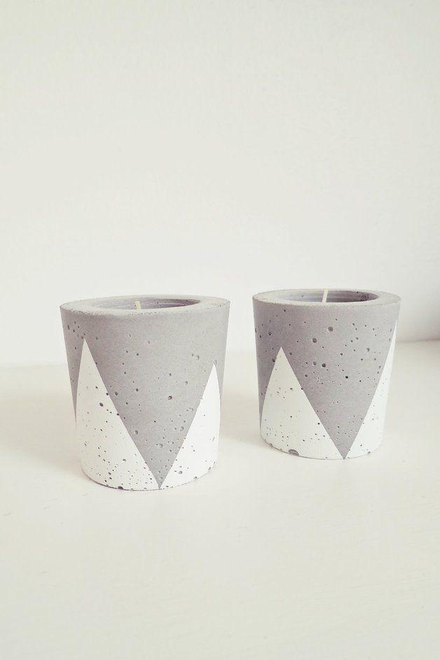 """Beton-Teelichthalter """"Triangle/Dreiecke"""" // concrete candle holder by Ahoj-2012 via DaWanda.com"""
