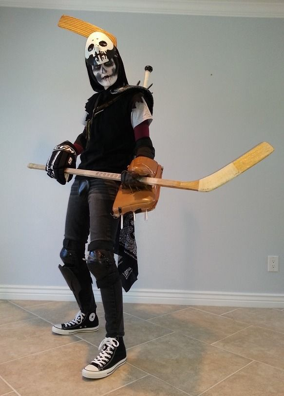 My Casey Jones costume for Phoenix Comicon 2014! The shoulder and shin armor is custom made from foam coated with Smooth-Cast and painted. I'll be posting more pics with the custom hockey sticks I had...