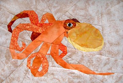 Sea life no. 2, Octopus paper pieced foundation pattern by Claudia Hasenbach…