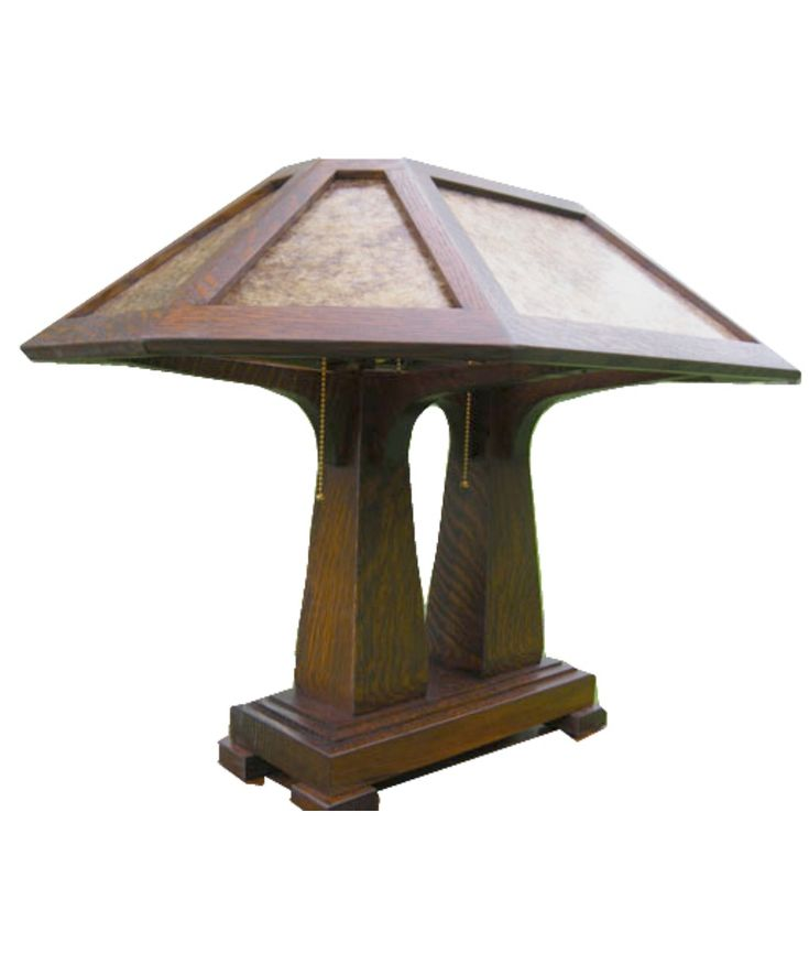 Craftsman Desk Lamp With Double Pedestal And Mica Shade