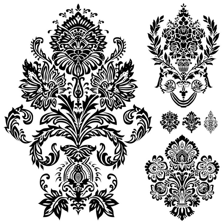 Free 6 Digi Stamps Flourish Ornaments Damask, Size 9x9 inch each.