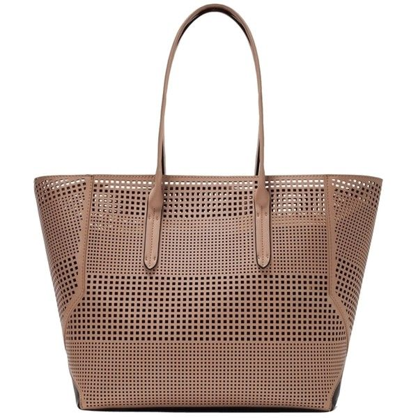 Pre-owned Zara Perforated Nude Tote Bag ($160) ❤ liked on Polyvore featuring bags, handbags, tote bags, nude, nude handbags, preowned handbags, brown purse, beach bag and pocket tote