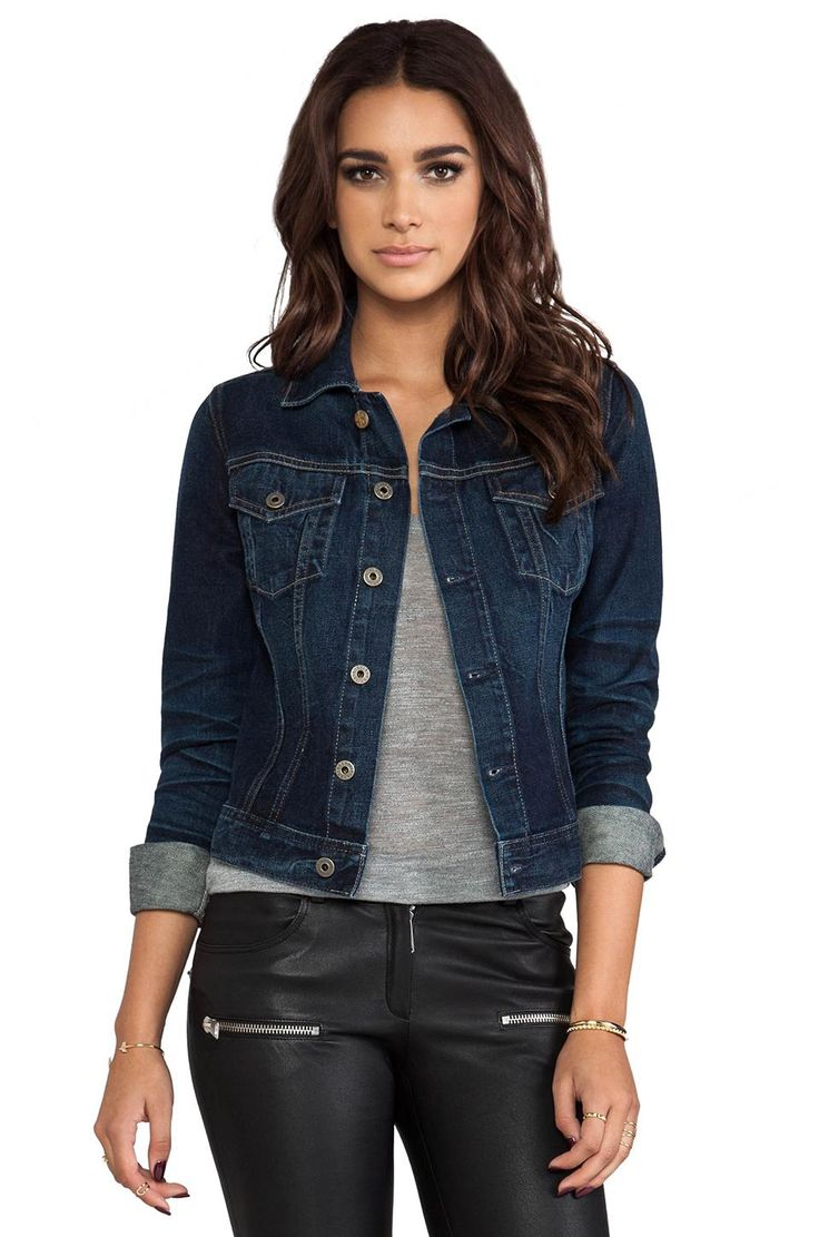 This denim jacket features a distressed-light blue finish. It is made of a cotton and polyester finish, so it will stretch a bit when worn. It has 5-buttons down the front, as well as two-breast pocket buttons, for additional storage. This is one of the best jackets for women who .