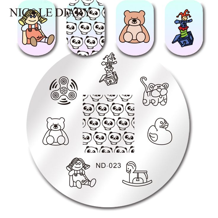 NICOLE DIARY Panda Bear Clown Stamping Plate Round Manicure Nail Art Stamp Image Plate ND 023-in Nail Art Templates from Beauty & Health on Aliexpress.com | Alibaba Group