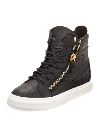 Croc-Embossed Leather High-Top Sneaker by Giuseppe Zanotti at Neiman Marcus.