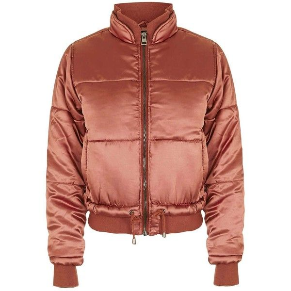 Satin Puffer Jacket ($100) ❤ liked on Polyvore featuring outerwear, jackets, puffy jacket, satin jackets, red jacket, red puffer jacket and puffer jacket