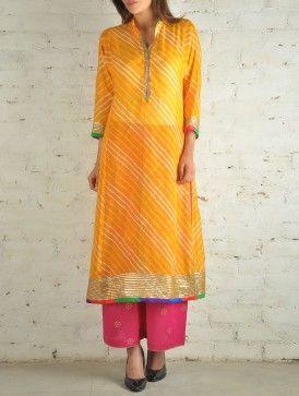 Buy Yellow Kota Silk Gota-Work Leheriya Tunic Online
