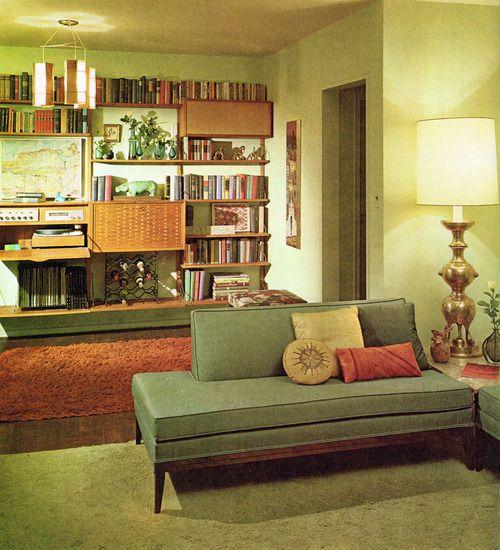 60's!   Furniture is Danish Modern in avocado green.