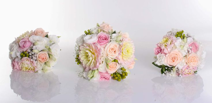 Soft pink, white and lemon - Romantic wedding flowers made by Amy's Flowers