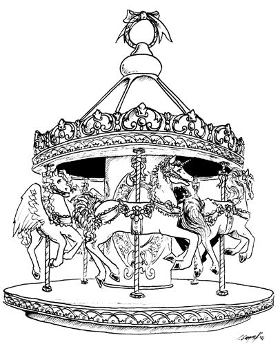 carousel drawing sketch coloring page