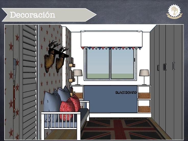 Dormitorio infantil diseñado por @kidsmopolitan para niño. Con papel pintado de estrellas, softheads, pintura de pizarra, alfombra estampada, guirnalda. http://kidsmopolitan.com/dormitorio-de-estilo-eclectico/ #kidsroom #dormitoriodeniño #papelpintado #navy #kidsdeco #decoracióninfantil #dormitorioinfantil #dormitoriodeniños #cuartoinfantil