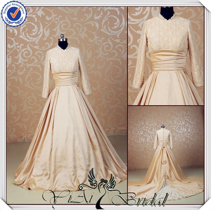 JJ3543 High neck Long sleeves golden wedding dresse modern muslim wedding dress with Removable tail