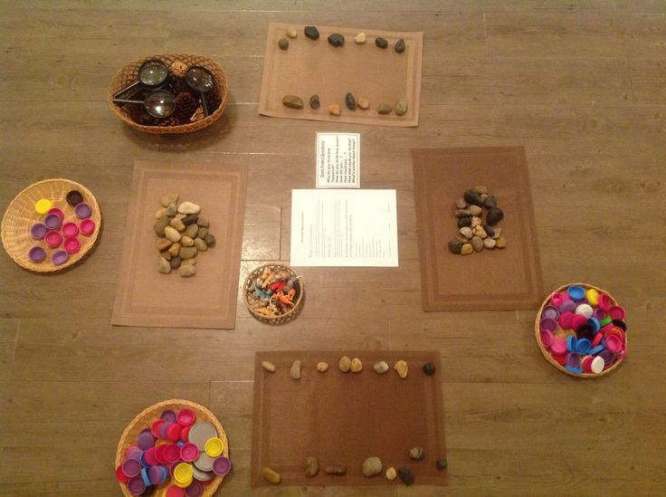Recycled and Natural Provocation: Milk jug lids, bamboo place mats, rocks, pinecones and magnifying glasses