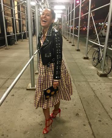 Splurge: Tracee Ellis Ross's Instagram Alaïa Red Laser Cut Daisy Detail Stud Effect Sandals (The Fashion Bomb Blog)