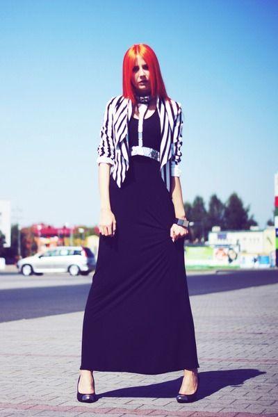 I'm a big girlBlack Maxi Dress Second Hand Dress White Waterfall Striped H&M Jacket Black Metallic Handmade Belt