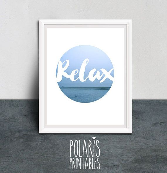 Abstract photography motivational quote relax beach printable download coast seaside wave nature Poster digital download print scandi