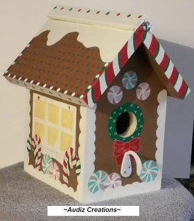 This is a Gingerbread house bird house that I made and painted... ~Audiz Creations~