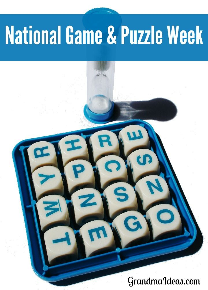 National Game and Puzzle Week is the week of Thanksgiving. Celebrate it by playing games or putting puzzles together with your family.