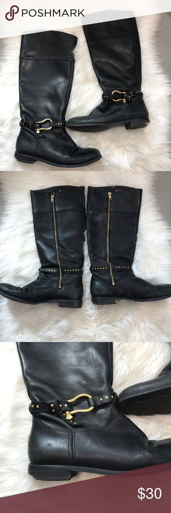 Women's Sperry Black Leather Knee High Boots In used condition. There are multiple flaws. All flaws are shown in close up pictures. Boots are fully functional. No rips or holes. Soles are in fantastic shape with lots of life left. Buttery soft leather. Good embellished studs and zips. Heels on both shoes are worn. Size 7.5, true to size! Could possibly be repaired for cheap! Sperry Shoes Over the Knee Boots