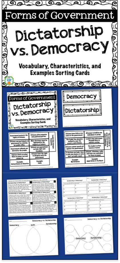Forms of Government: Dictatorship Vs. Democracy - Includes graphic organizers, characteristics sort, and task cards.