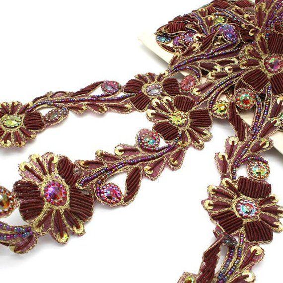 FLORAL SEQUIN MOTIF APPLIQUE sew trimming,edging,trim,sequin,bead,EMBELLISHMENT