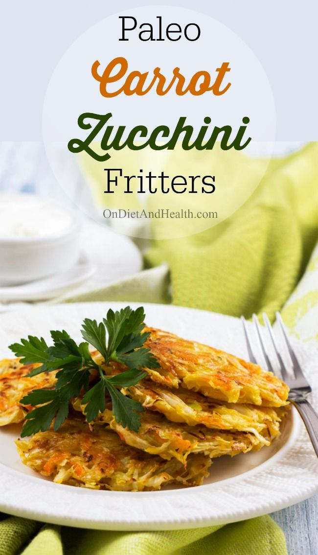 Easy #paleo carrot zucchini fritters // OnDietAndHealth.com: Zucchini Fritters, Easy Paleo, Carrots Zucchini, Paleo Carrots