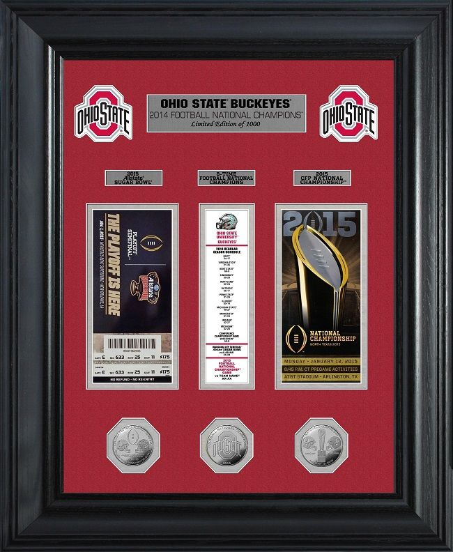 Ohio State Buckeyes Football-Pictures-Quotes-Frames-Posters-All With OSU Logo-Ohio State Buckeyes Ticket Framed Picture. Ohio State framed memorabilia with a replica of the CFP Semi Final Ticket, the Championship Game ticket and a banner in between the tickets listing Ohio State's games and scores this past season.