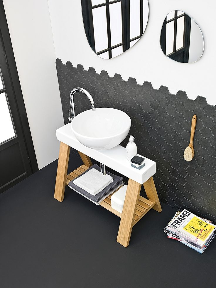 Bathroom:Modern Small Space Bathroom Design Ideas With Modern Washbasins With Arch Faucet On Stand Out Wooden Also Towels On Shelves And Magazines And Double Unique Mirror In White Wall Also Dark Flooring Inspiring Small Bathroom Design Ideas with Beautiful and Attractive Washbasins