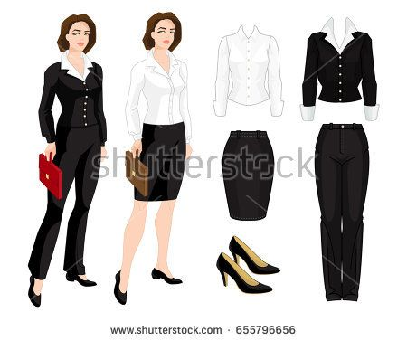 Vector illustration of corporate dress code. Business woman or teacher isolated isolated on white background. Formal clothes and classic shoes