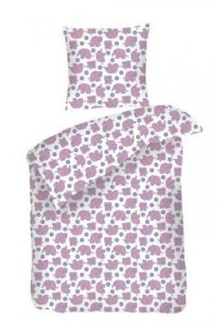 Sove Trine BABY sengetøj med lilla elefanter fra Night & day