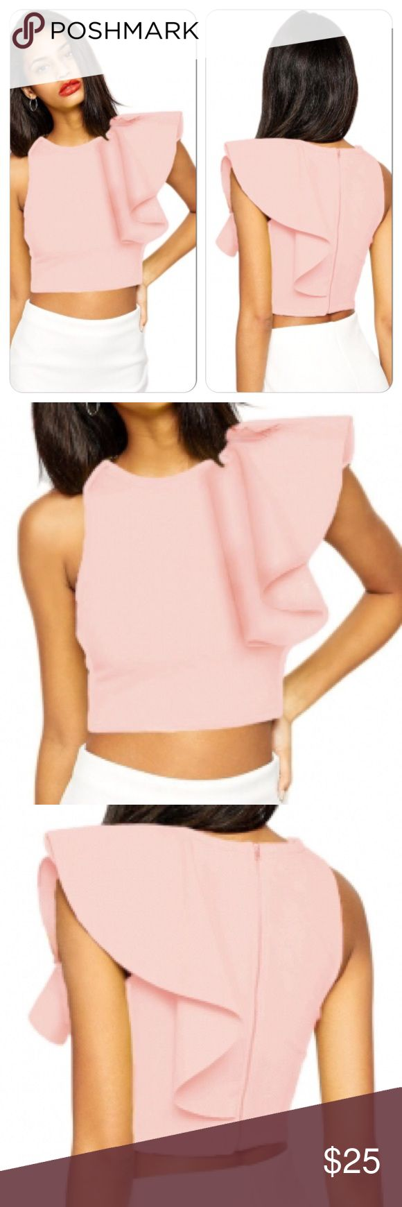 Sexy Pink Ruffle One Shoulder Zip Up Back Crop Top Stretchy Formfitting back zipper closure Tops Crop Tops