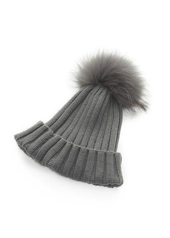 Grey On Grey Knitted Hat With Detachable Fur Pom Pom