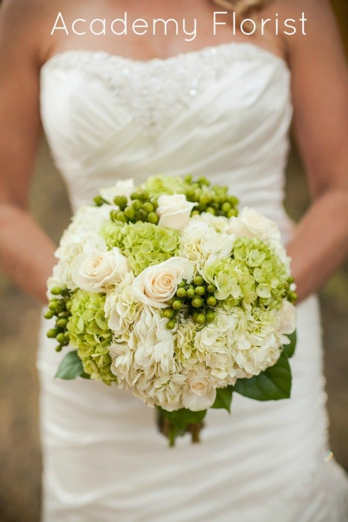 Green and White Bouquet - hydrangea, roses, and berries. Nice and simple and lush! By @Academy Sports + Outdoors Sports + Outdoors Florist