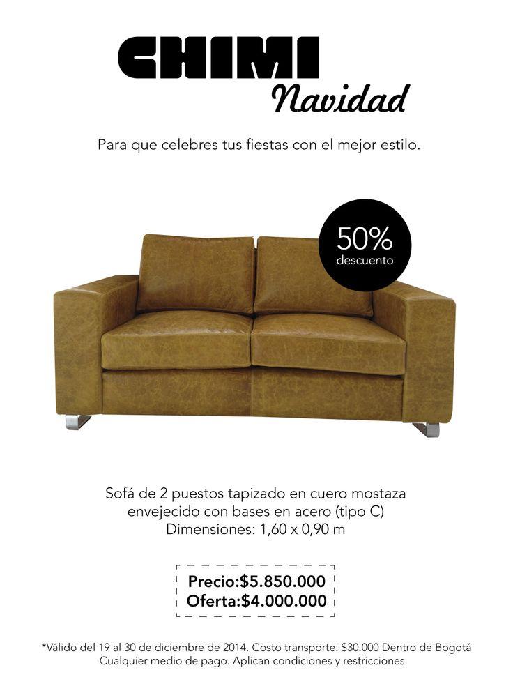 Sofá de 2 puestos tapizado en cuero mostaza envejecido con bases en acero (tipo C)  Dimensiones: 1,60 x 0,90 m