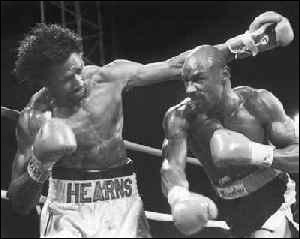 """Marvelous"" Marvin Hagler knocking out Thomas ""The Hitman"" Hearns"