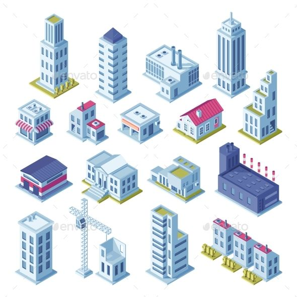 City Buildings 3d Isometric Projection For Map City Buildings Isometric Grey Houses