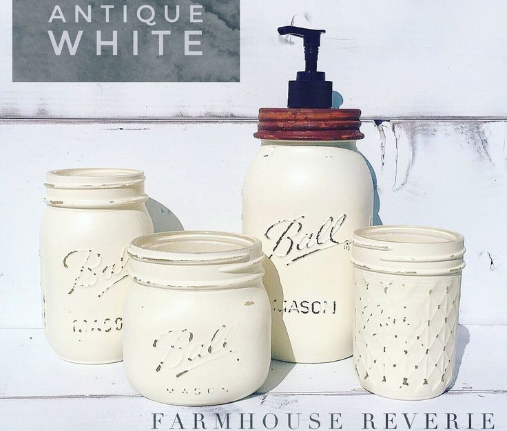 Antique White Rustic Farmhouse Bathroom Set ( Primitive Mason Jar Bathroom Set, Soap Dispenser, Toothbrush Holder, Shabby Chic Home Decor ) by FarmhouseReverie on Etsy https://www.etsy.com/listing/514341521/antique-white-rustic-farmhouse-bathroom