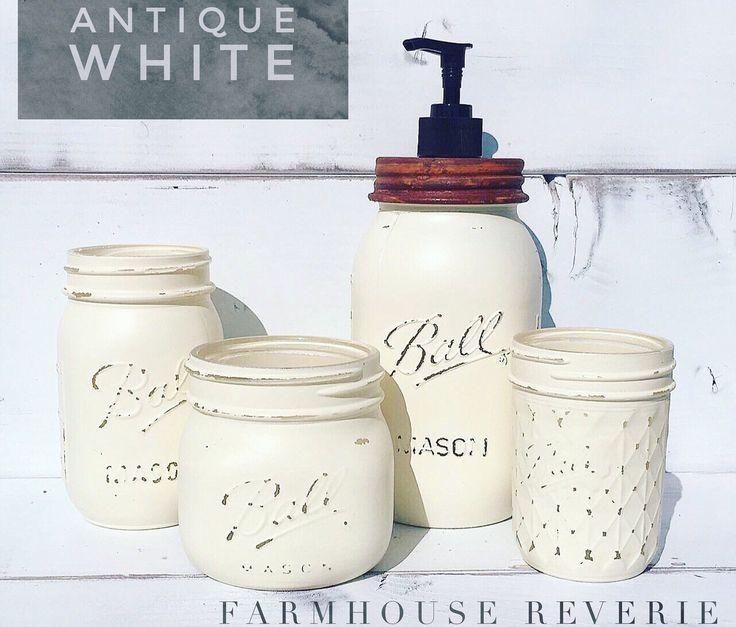 Antique White Rustic Farmhouse Bathroom Set ( Primitive Mason Jar Bathroom Set, Soap Dispenser, Toothbrush Holder, Shabby Chic Home Decor ) by FarmhouseReverie on Etsy https://www.etsy.com/listing/514341521/antique-white-rustic-farmhouse-bathroom