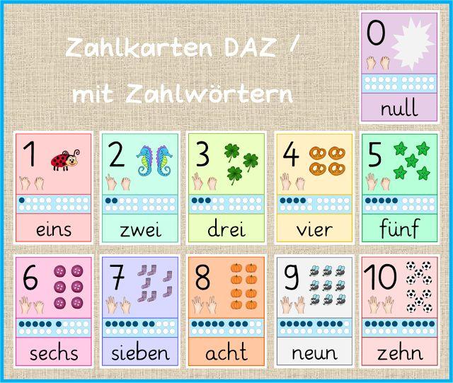 Zahlkarten mit Zahlwörtern