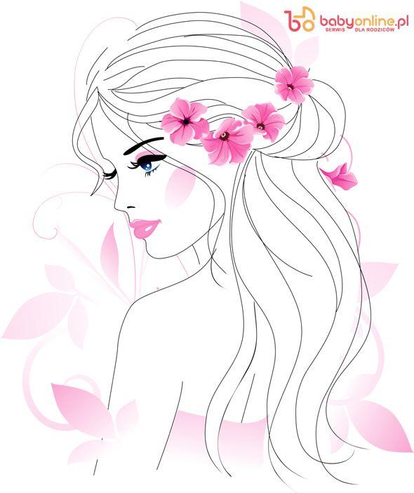 Pani Wiosna Kolorowanki Dla Dzieci Art Girls With Flowers Illustration