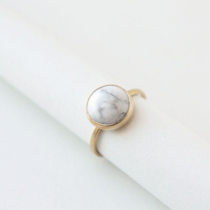 White Howlite Stone Ring #marble #etsy