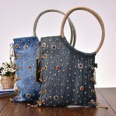 Новый Vintage моде джинсовые бусины Rhinestone джинсы женщин повелительницы плеча сумочек Вечерние сумки Tote для женщин-Bolsa feminina