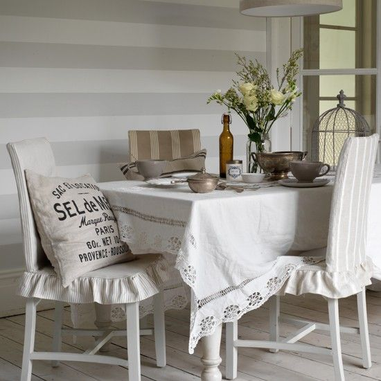 18 best images about striped wallpaper on pinterest for Neutral dining room ideas