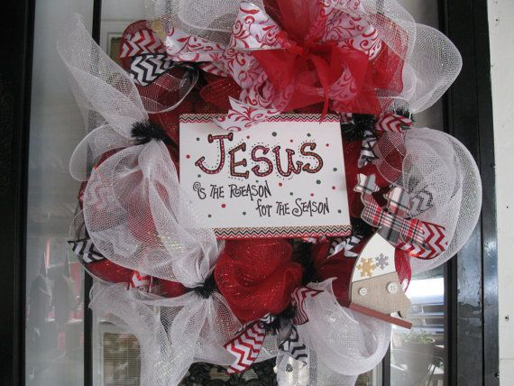 Red ,Black  & White Deco Mesh Christmas Wreath With Jesus Is The Reason For The Season Sign on Etsy, $50.00