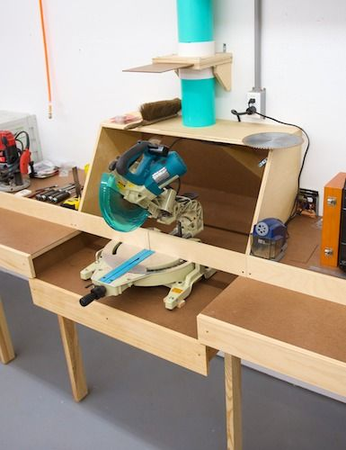 Miter Saw Station (*can put shop vac underneath, with hose in back or bottom)
