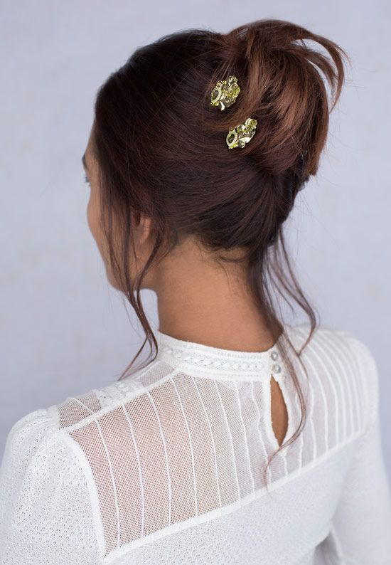 Olivia U-Pins Limited Edition     Lovely brass and olivine crystals combined for an elegant pair of U-pins. The start to a lovely updo! Limited Release items are available while supplies last.